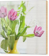 Pink Tulips In Yellow Vase Wood Print