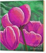 Pink Tulips On Green Wood Print