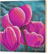 Pink Tulips On Teal Wood Print