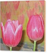 Pink Tulips Wood Print