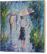 Pink Umbrella - Palette Knife Oil Painting On Canvas By Leonid Afremov Wood Print