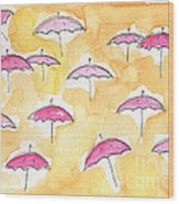 Pink Umbrellas Wood Print