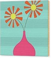 Pink Vase On Blue Wood Print