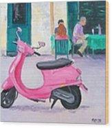 Pink Vespa Wood Print