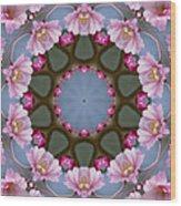 Pink Weeping Cherry Blossom Kaleidoscope Wood Print