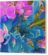 Pink With Blue Irises Wood Print