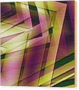 Pink Yellow And Green Geometry Wood Print by Mario Perez