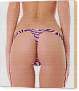 Pink Zebra Thong Wood Print