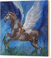 Pinto Pegasus With Blue Mane Wood Print