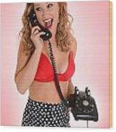 Pinup Girl On The Phone Wood Print