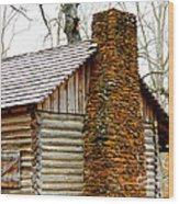 Pioneer Log Cabin Chimney Wood Print