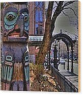 Pioneer Square Totem Pole Wood Print