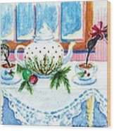 Pipers Sipping Christmas Tea Wood Print