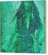Pirate Johnny Depp - Shades Of Caribbean Green Wood Print