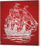 Pirate Ship Artwork - Red Wood Print