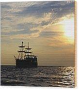 Pirate Ship At Sunset Wood Print