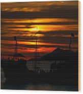 Pirate Ship At Sunset Wood Print