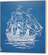 Pirate Ship Blueprint Artwork Wood Print by Nikki Marie Smith