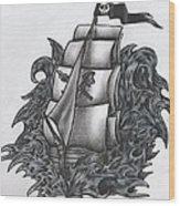 Pirate Ship Bw Wood Print