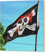 Pirate Ship Flag Of The Skull And Crossbones Wood Print