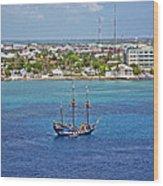 Pirate Ship In Cozumel Wood Print