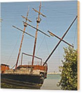 Pirate Ship Or Sailing Ship Wood Print