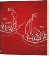 Pirate Ship Patent Artwork - Red Wood Print by Nikki Marie Smith