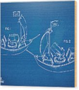 Pirate Ship Patent - Blueprint Wood Print by Nikki Marie Smith