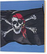 Pirate Skull Flag With Red Scarf Wood Print