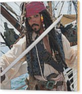 Pirate With Sword Wood Print