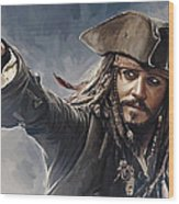 Pirates Of The Caribbean Johnny Depp Artwork 2 Wood Print