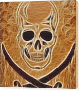 Pirates Skull Digtal Painting Wood Print