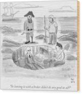 Pirates Stand Around A Dug Up Treasure Chest Wood Print
