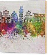 Pisa Skyline In Watercolor Background Wood Print