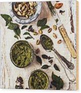 Pistachio Pesto With Mortar, Jars And Wood Print