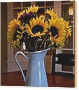 Pitcher Of Sunflowers Wood Print