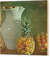 Pitcher With Pineapples Wood Print
