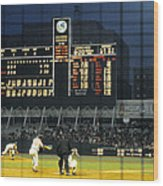 Pitching To A Hitter In Old Yankee Stadium Wood Print by Retro Images Archive