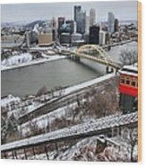 Pittsburgh Duquesne Incline Winter Wood Print