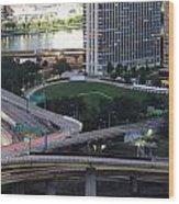 Pittsburgh Aerial Car Trails At Dusk 2 Wood Print