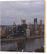 Pittsburgh Aerial Skyline At Dusk Wood Print