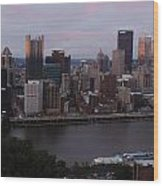 Pittsburgh Aerial Skyline At Sunset 3 Wood Print