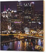 Pittsburgh At Night Wood Print