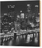 Pittsburgh Black And White Night Wood Print