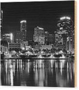 Pittsburgh Black And White Panorama Wood Print