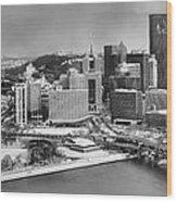 Pittsburgh Black And White Winter Panorama Wood Print