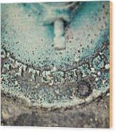 Pittsburgh In Teal Relief On A Vintage Water Pump Wood Print