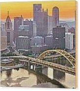 Pittsburgh Incline Sunrise Panorama Wood Print