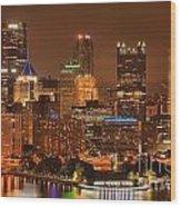 Pittsburgh Lights Under Cloudy Skies Wood Print