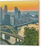 Pittsburgh Orange Skyline Wood Print